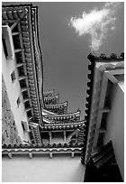 Architectural detail of the castle. Himeji, Japan ( black and white)