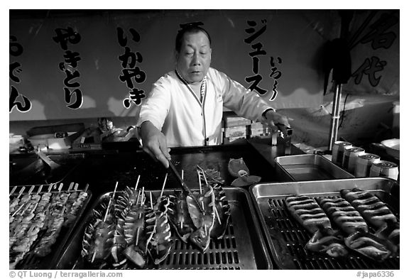 Street food for sale. Himeji, Japan (black and white)