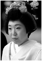 Bride with traditional make-up. Tokyo, Japan ( black and white)