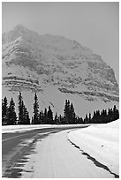 Icefields Parkway partly covered by snow. Banff National Park, Canadian Rockies, Alberta, Canada (black and white)