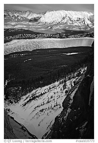 Valley along the David Thompson highway in winter. Banff National Park, Canadian Rockies, Alberta, Canada (black and white)