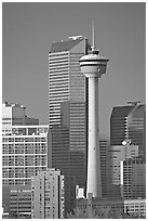 Calgary tower and skyline, late afternoon. Calgary, Alberta, Canada (black and white)