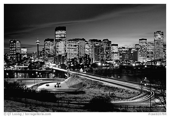 Bridge and skyline at night. Calgary, Alberta, Canada (black and white)