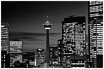 Tower and high-rise buidlings at night. Calgary, Alberta, Canada (black and white)