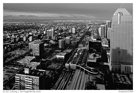 Wintry view from Calgary Tower. Calgary, Alberta, Canada (black and white)
