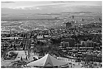 View from Calgary Tower in winter. Calgary, Alberta, Canada (black and white)