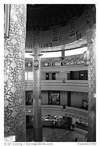 Inside the Chinese cultural center. Calgary, Alberta, Canada (black and white)