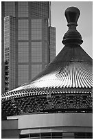 Dome of the Chinese cultural center. Calgary, Alberta, Canada (black and white)