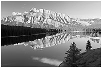 Mt Rundle and Two Jack Lake, early morning. Banff National Park, Canadian Rockies, Alberta, Canada ( black and white)