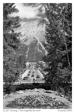 Banff Avenue seen from Cascade Gardens, mid-day. Banff National Park, Canadian Rockies, Alberta, Canada (black and white)