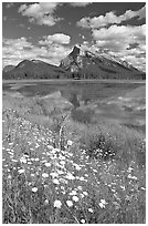 First Vermillon Lake and Mt Rundle, afternoon. Banff National Park, Canadian Rockies, Alberta, Canada (black and white)
