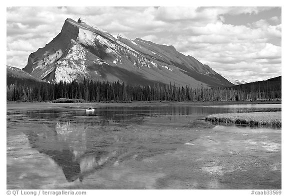 Mt Rundle reflected in first Vermillion lake, afternoon. Banff National Park, Canadian Rockies, Alberta, Canada (black and white)