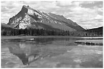Mt Rundle reflected in first Vermillion lake, afternoon. Banff National Park, Canadian Rockies, Alberta, Canada ( black and white)