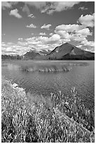 Mt Rundle and second Vermillion lake, afternoon. Banff National Park, Canadian Rockies, Alberta, Canada ( black and white)