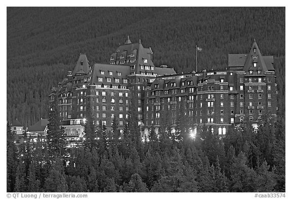 Banff Springs Hotel at dusk. Banff National Park, Canadian Rockies, Alberta, Canada