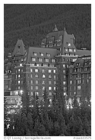 Banff Springs Hotel at dusk. Banff National Park, Canadian Rockies, Alberta, Canada (black and white)