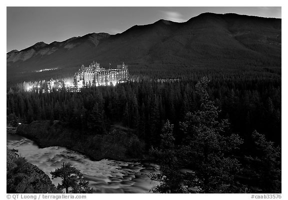 Banff Springs Hotel, Bow River and Falls at night. Banff National Park, Canadian Rockies, Alberta, Canada (black and white)