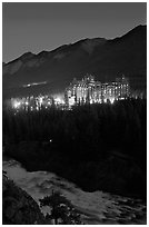 Banff Springs Hotel and Bow River from Surprise Point at night. Banff National Park, Canadian Rockies, Alberta, Canada (black and white)