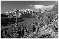 Valley of Ten Peaks, early morning. Banff National Park, Canadian Rockies, Alberta, Canada (black and white)