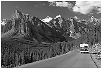 RV on the road to the Valley of Ten Peaks. Banff National Park, Canadian Rockies, Alberta, Canada ( black and white)