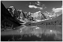 Moraine Lake reflecting the Wenkchemna Peaks, mid-morning. Banff National Park, Canadian Rockies, Alberta, Canada (black and white)