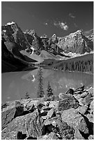 Moraine Lake from the Rockpile, mid-morning. Banff National Park, Canadian Rockies, Alberta, Canada (black and white)