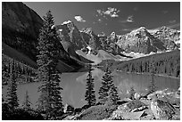 Moraine Lake and Wenkchemna Mountains , mid-morning. Banff National Park, Canadian Rockies, Alberta, Canada (black and white)