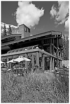 Moraine Lake lodge. Banff National Park, Canadian Rockies, Alberta, Canada (black and white)