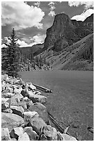 Moraine Lake and peak, afternoon. Banff National Park, Canadian Rockies, Alberta, Canada (black and white)