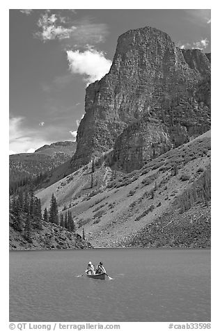 Canoe on Moraine Lake, afternoon. Banff National Park, Canadian Rockies, Alberta, Canada (black and white)