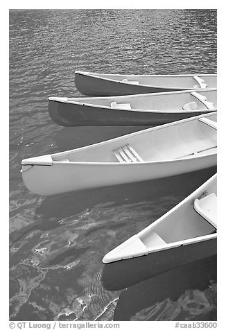 Close up of red, yellow and blue canoes, Moraine Lake. Banff National Park, Canadian Rockies, Alberta, Canada (black and white)