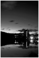 Chateau Lake Louise reflected in Lake at night. Banff National Park, Canadian Rockies, Alberta, Canada (black and white)