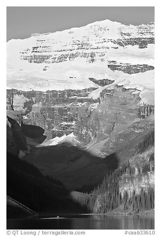 Victoria peak and glacier above Lake Louise, early morning. Banff National Park, Canadian Rockies, Alberta, Canada (black and white)