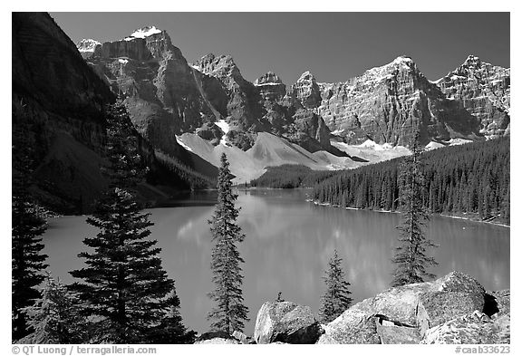 Wenkchemna Peaks above turquoise colored Moraine Lake , mid-morning. Banff National Park, Canadian Rockies, Alberta, Canada (black and white)