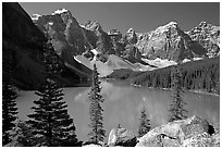 Wenkchemna Peaks above turquoise colored Moraine Lake , mid-morning. Banff National Park, Canadian Rockies, Alberta, Canada ( black and white)