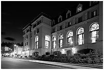 Chateau Lake Louise at night. Banff National Park, Canadian Rockies, Alberta, Canada ( black and white)