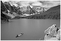 Canoe and Wenkchemna Peaks, Moraine Lake, mid-morning. Banff National Park, Canadian Rockies, Alberta, Canada (black and white)