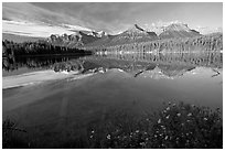 Bow range reflected in Herbert Lake, early morning. Banff National Park, Canadian Rockies, Alberta, Canada (black and white)