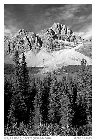 Crowfoot Mountain rising above Bow Lake. Banff National Park, Canadian Rockies, Alberta, Canada (black and white)