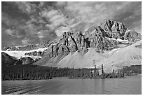 Crowfoot Mountain and Crowfoot Glacier above Bow Lake. Banff National Park, Canadian Rockies, Alberta, Canada (black and white)