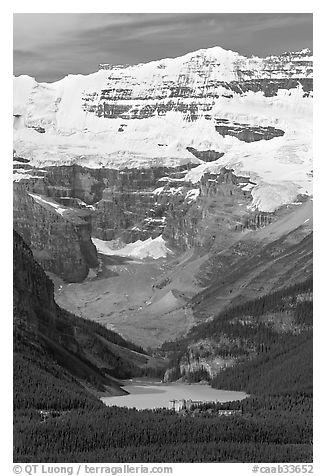 Distant view of Lake Louise and  Victoria Peak from the ski resort. Banff National Park, Canadian Rockies, Alberta, Canada (black and white)