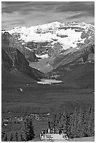 Observation platform, Lake Louise and  Victoria Peak. Banff National Park, Canadian Rockies, Alberta, Canada ( black and white)