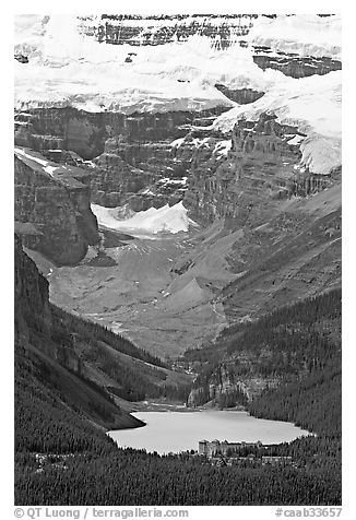 Lake Louise and Chateau Lake Louise at the base of Victorial Peak. Banff National Park, Canadian Rockies, Alberta, Canada (black and white)