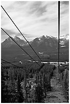 Tram at Lake Louise ski resort and Ten Peaks lodge. Banff National Park, Canadian Rockies, Alberta, Canada (black and white)