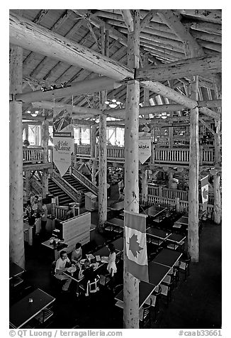 Dinning hall in Ten Peaks lodge. Banff National Park, Canadian Rockies, Alberta, Canada (black and white)