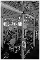 Dinning hall in Ten Peaks lodge. Banff National Park, Canadian Rockies, Alberta, Canada ( black and white)