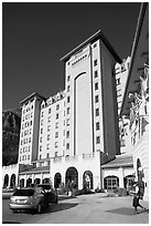 Checking in Chateau Lake Louise hotel. Banff National Park, Canadian Rockies, Alberta, Canada (black and white)