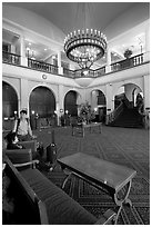 Main interior lobby of Chateau Lake Louise. Banff National Park, Canadian Rockies, Alberta, Canada (black and white)