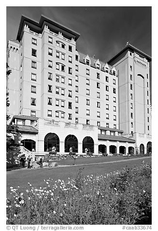 Facade of Chateau Lake Louise hotel. Banff National Park, Canadian Rockies, Alberta, Canada (black and white)