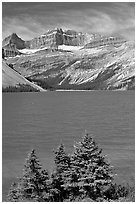 Bow Lake, mid-day. Banff National Park, Canadian Rockies, Alberta, Canada (black and white)
